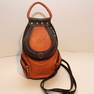 Unique Vintage Orange Convertible Backpack